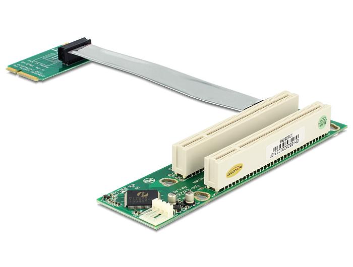 Delock emelőkártya Mini PCI Express > 2 x PCI 32 Bit 5 V flexibilis kábellel, 13 cm, balos