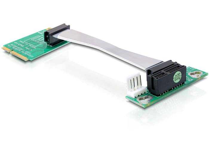Delock emelőkártya Mini PCI Express > PCI Express x1, balos, 13 cm