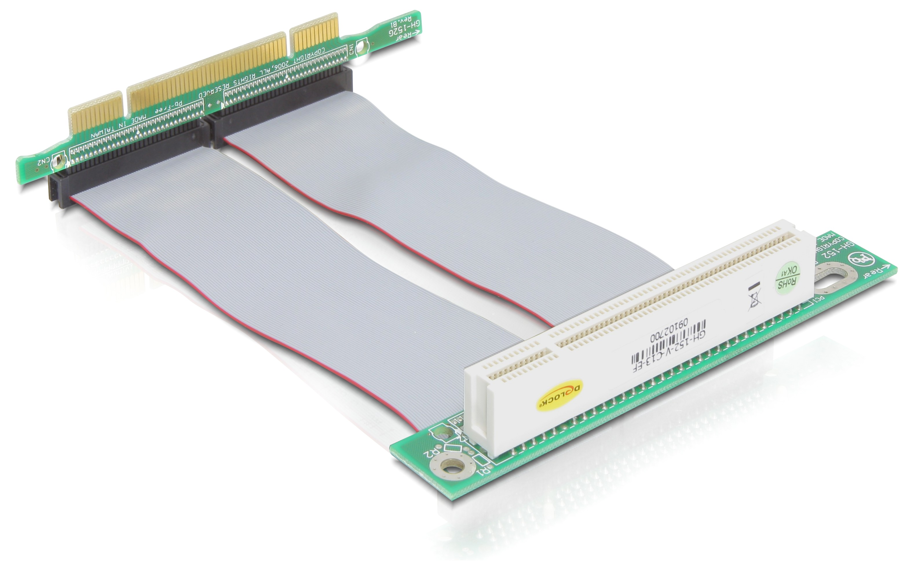 Delock Riser card PCI angled 90° left insertion with 13 cm cable