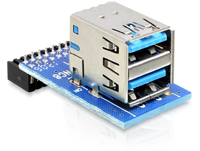 Delock USB 3.0 Pin fej, anya > 2 x USB 3.0 anya - egymáson elhelyezve
