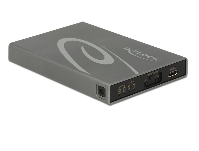 Delock Külso merevlemezház 2 x mSATA SSD > USB 3.1 Gen 2 USB Type-C™ hüvely, RAID-dal