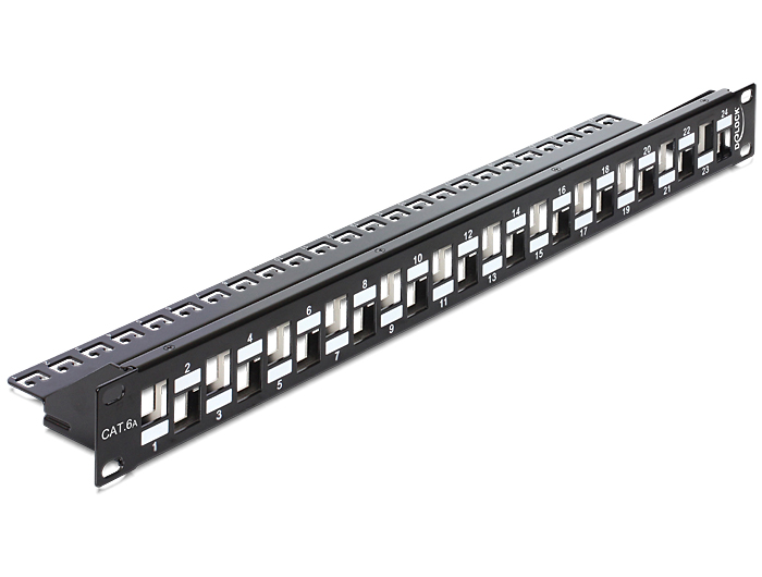 Delock 19'' méretű, 24db lépcsőzetes elrendezésű porttal rendelkező Keystone patchpanel tehermentesít