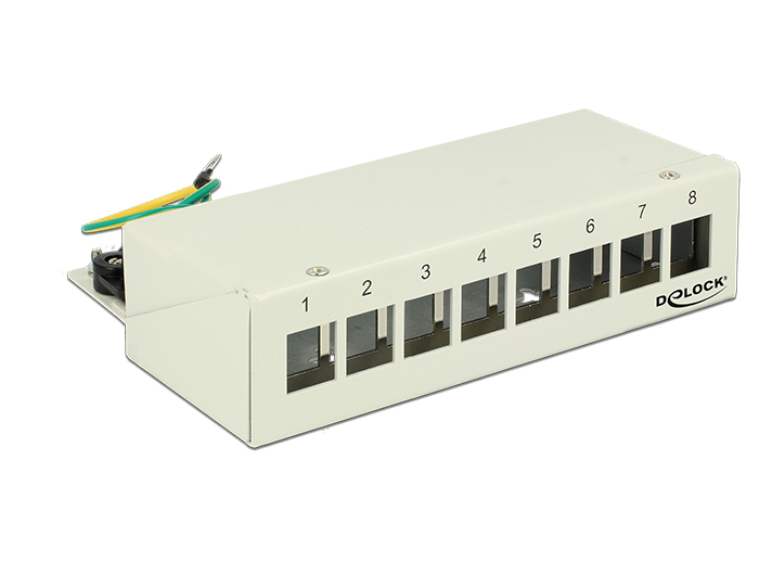 Delock Keystone Desktop Patch Panel 8 Port grey