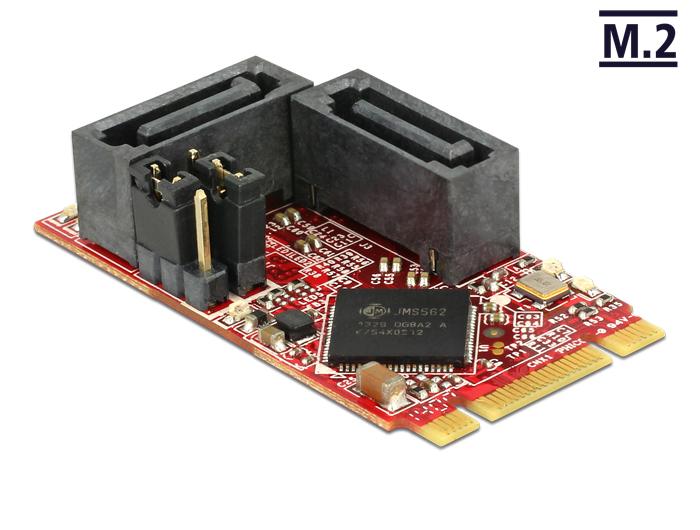 Delock modul M.2 NGFF 2242 B+M > 2 x SATA 6 Gb/s 7 érintkezős anya Raid funkcióval