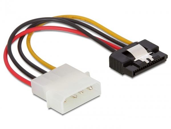Delock SATA HDD (apa, fém kapoccsal) – 4 tűs Molex (apa, egyenes) hálózati kábel