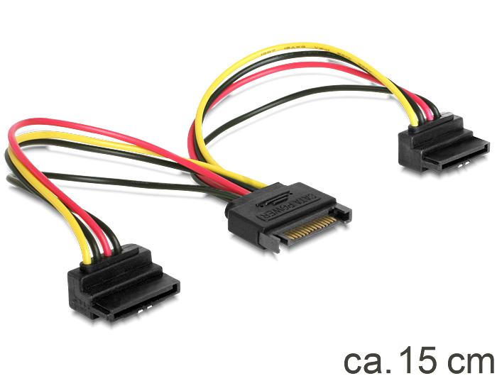 Delock SATA 15pin > 2x SATA HDD - tápkábel, forgatott
