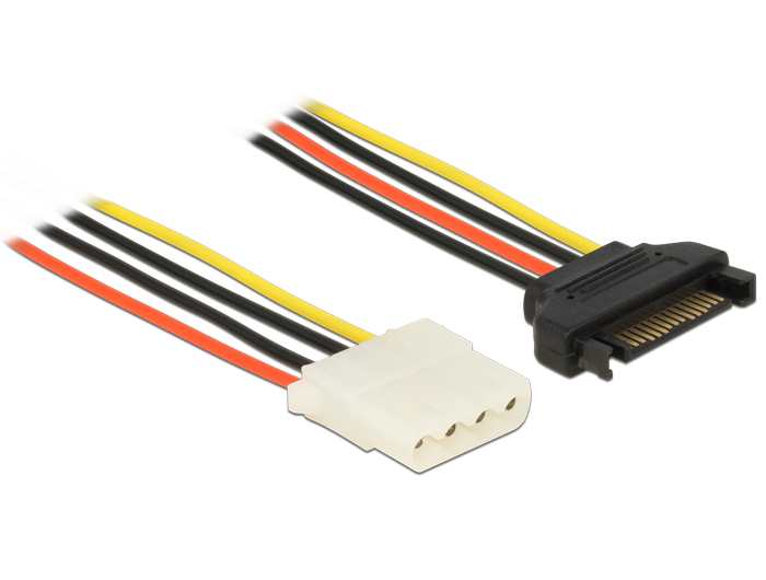 Delock Power Cable SATA 15 pin male > 4 pin female 70 cm
