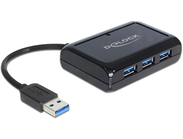 Delock USB 3.0 hub 3 port + 1 port Gigabit LAN 10/100/1000 Mb/s