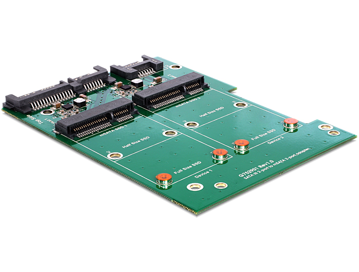 Delock SATA 22 pin + 7 pin > 2 x mSATA konverter, 3.5''-os kerettel