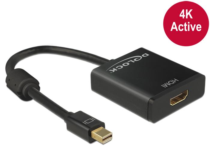 Delock Adapter mini Displayport 1.2-dugós csatlakozó > HDMI-csatlakozóhüvely 4K aktív fekete