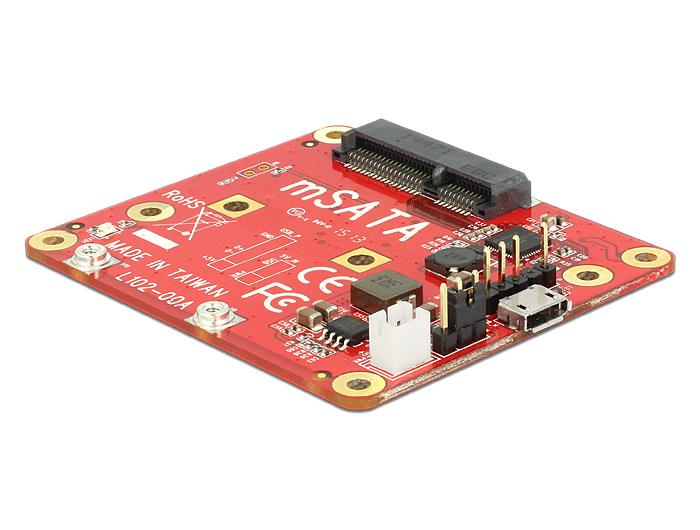 Delock Raspberry Pi átalakító USB Micro-B-csatlakozóhüvellyel > sebességű mSATA 6 Gb/s