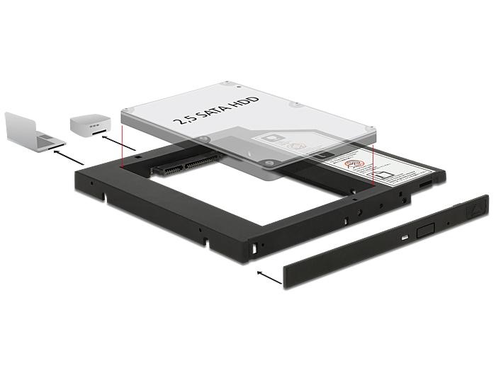 """Delock Vékony kialakítású SATA 5.25""""-es keret 1 x 2.5""""-es SATA HDD-hez legfeljebb 9,5 mm"""