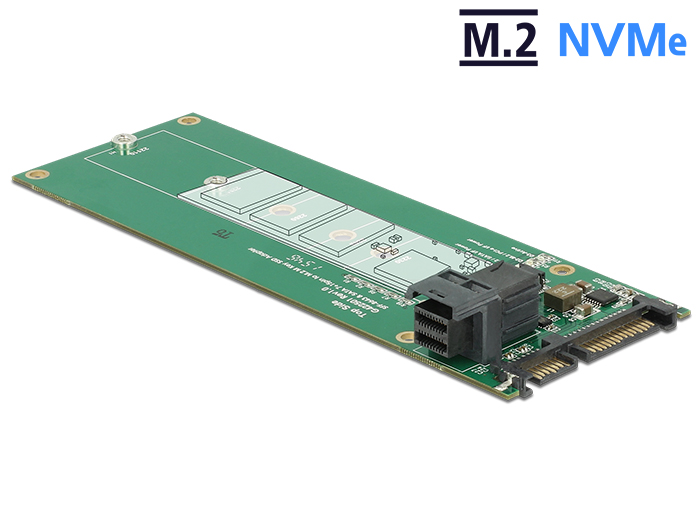 Delock SATA-átalakító, 22 tűs / SFF-8643 NVMe > 1 x M.2 NGFF M aljzat