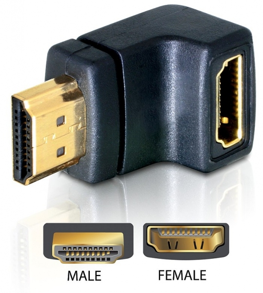 Delock Adapter HDMI male > HDMI female 90° down