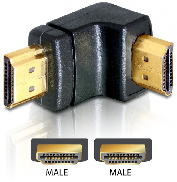 Delock Adapter HDMI male > HDMI male 90° down