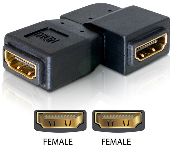 Delock Adapter HDMI female > HDMI female 90° left