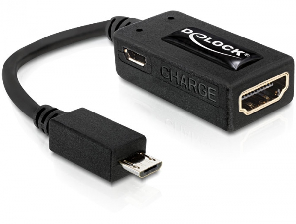 Delock Adapter MHL male > High Speed HDMI female + USB micro-B female