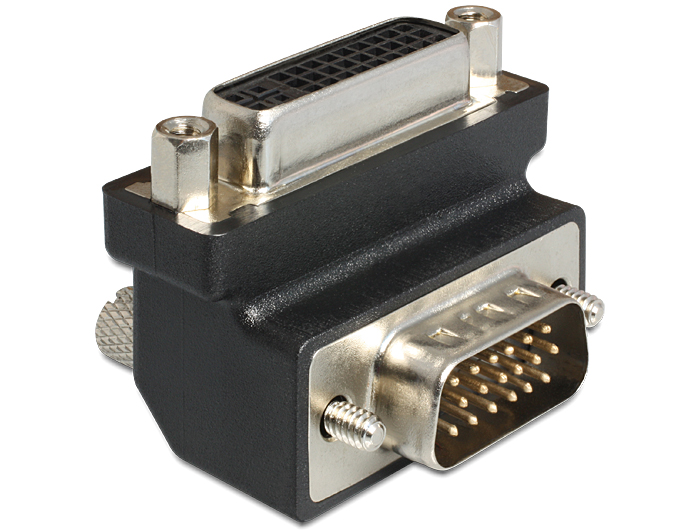 Delock DVI 24+5 pin anya > VGA 15 pin apa adapter, 90° forgatott