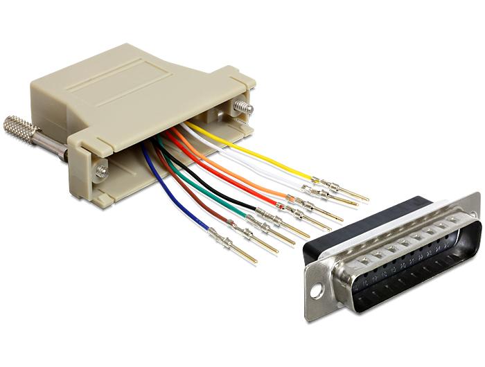 Delock adapter Sub-D 25 Pin apa > RJ45 anya, szerelő készlet