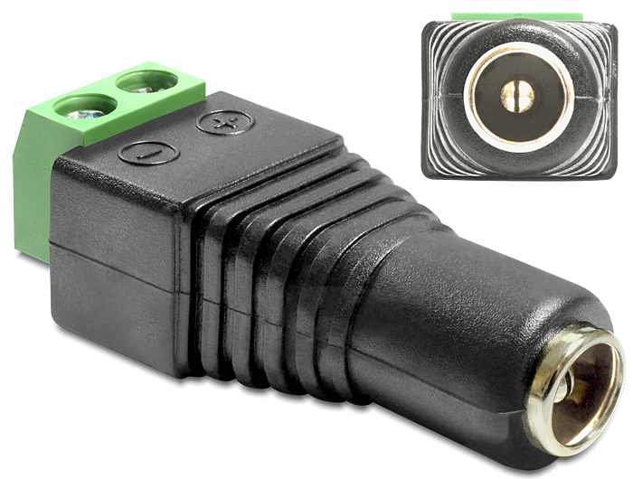Delock DC 2.5 x 5.5 mm anya > Terminal Block 2 pin adapter