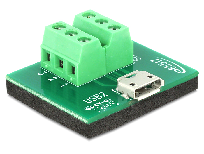 Delock adapter Micro USB anya > Terminal Block 6 pines