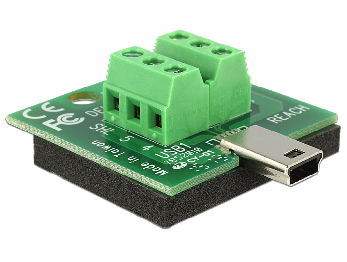 Delock Adapter Mini USB male > Terminal Block 6 Pin