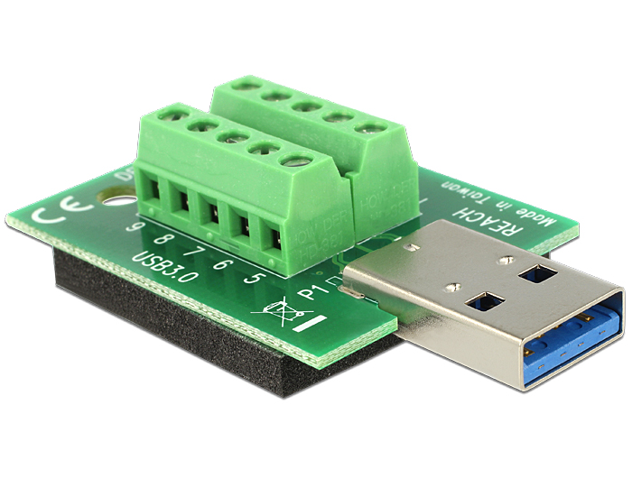 Delock Adapter USB 3.0-A male > Terminal Block 10 Pin