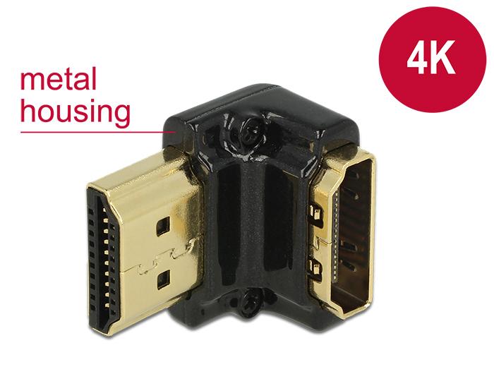 Delock adapter Gyors-sebességű HDMI Ethernettel - HDMI-A anya > HDMI-A apa 4K 90 fokos lefele fekete