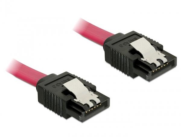 Delock SATA 6Gbps 10cm egyenes-egyenes piros kábel