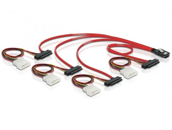 Delock mini SAS 36 tűs - 4db SAS 29 tűs kábel (SFF 8087 - 4db SFF 8482 + táp) 50cm