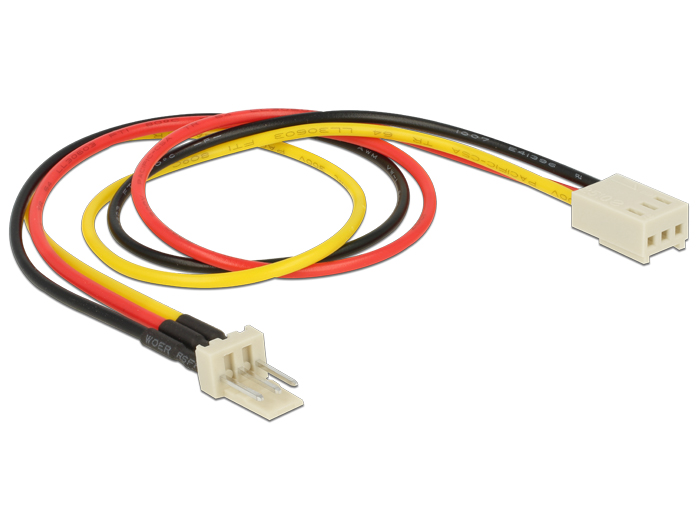 Delock Power Cable 3 pin male > 3 pin female (fan) 30 cm
