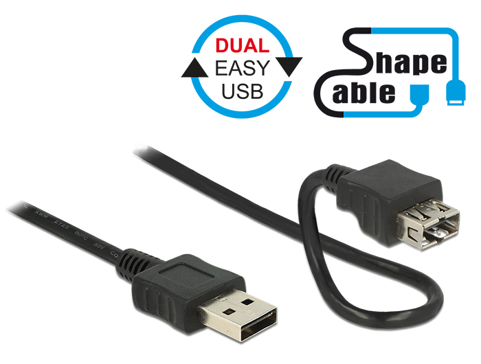 DELOCK Easy-USB 2.0 Type-A apa > Easy-USB 2.0 Type-A anya formálható kábel 0.2 méter