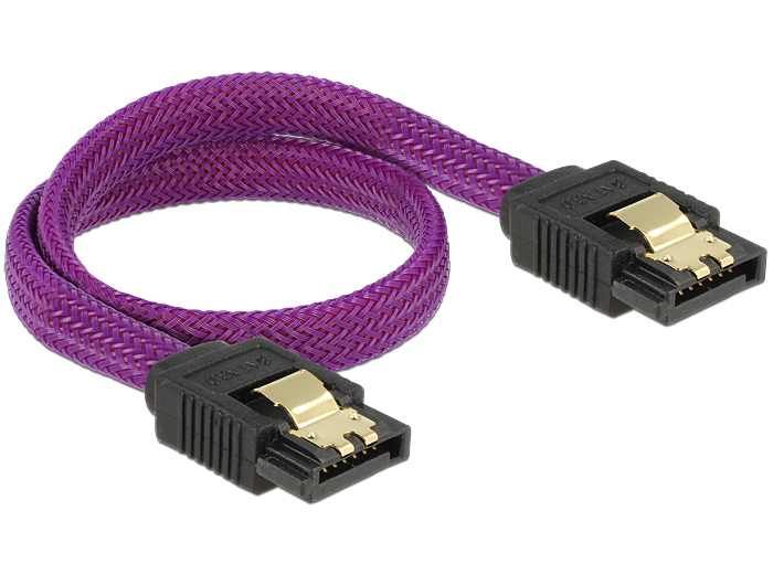 Delock SATA cable 6 Gb/s 30 cm straight / straight metal purple Premium