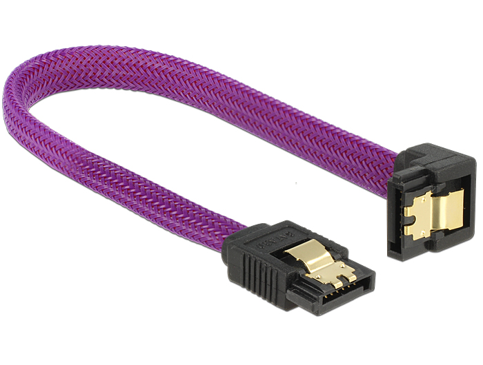 Delock SATA cable 6 Gb/s 20 cm down / straight metal purple Premium