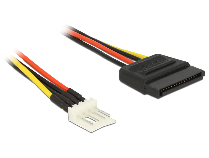 Delock Power Cable SATA 15 pin male > 4 pin floppy male 60 cm