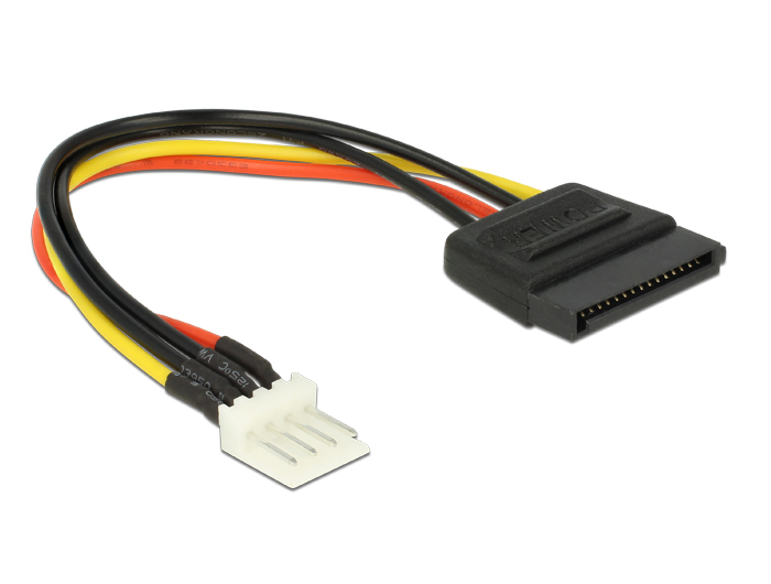 Delock Power Cable SATA 15 pin male > 4 pin floppy male 15 cm