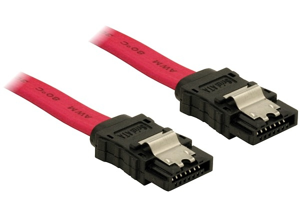 Delock SATA piros, egyenes/egyenes csatl. (fémlappal), 70 cm-es összekötő kábel