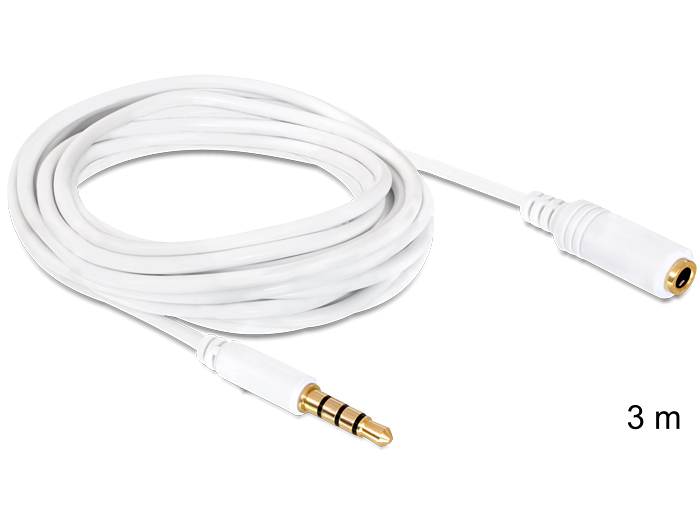 Delock audio sztereo Jack 3.5 mm apa / anya IPho 4 pin kábel, 3 m