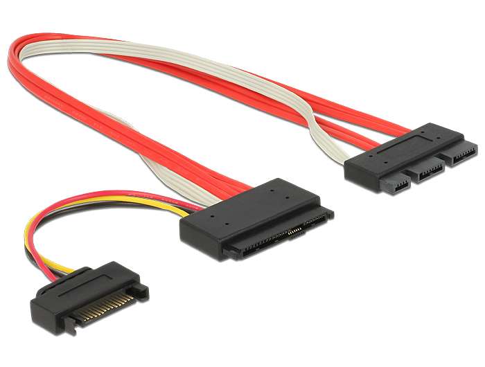 Delock Cable SATA Express 18 pin male + SATA Power > SATA Express 29 pin male 30 cm