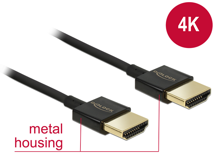 Delock Cable High Speed HDMI with Ethernet - HDMI-A male > HDMI-A male 3D 4K 2 m Slim Premium