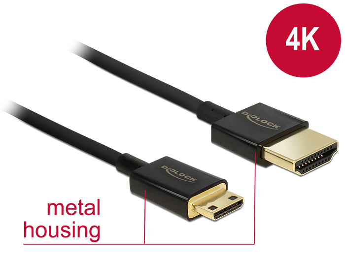 Delock Cable High Speed HDMI with Ethernet - HDMI-A male > HDMI Mini-C male 3D 4K 2 m Slim Premium