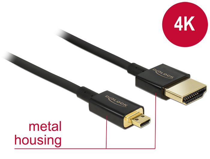Delock Cable High Speed HDMI with Ethernet - HDMI-A male > HDMI Micro-D male 3D 4K 2 m Slim Premium