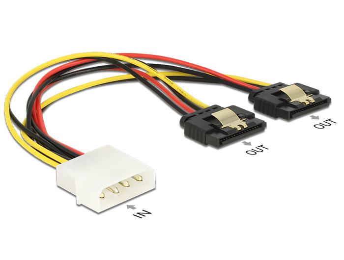 Delock Molex-tápkábel 4 tus csatlakozódugóval > 2 x 15 tus SATA-csatlakozóhüvely, fém, 20 cm