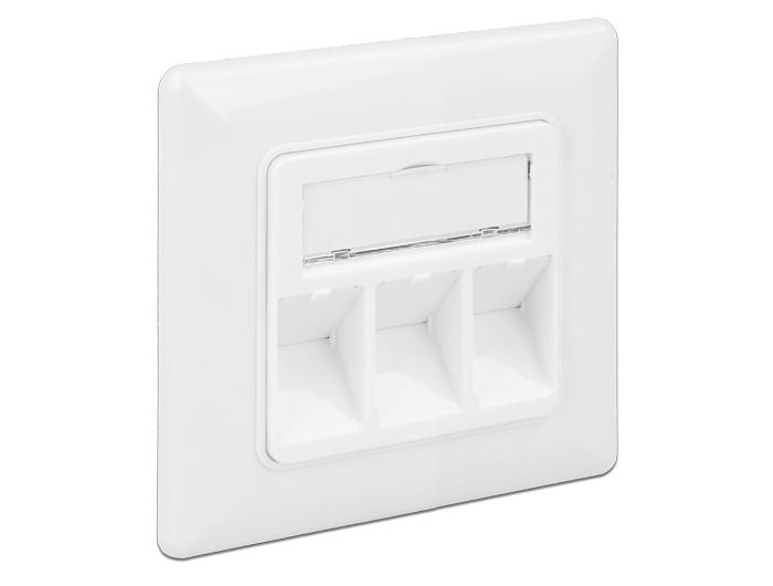 DELOCK Keystone 3-portos fali kimeneti nyílás, kompakt