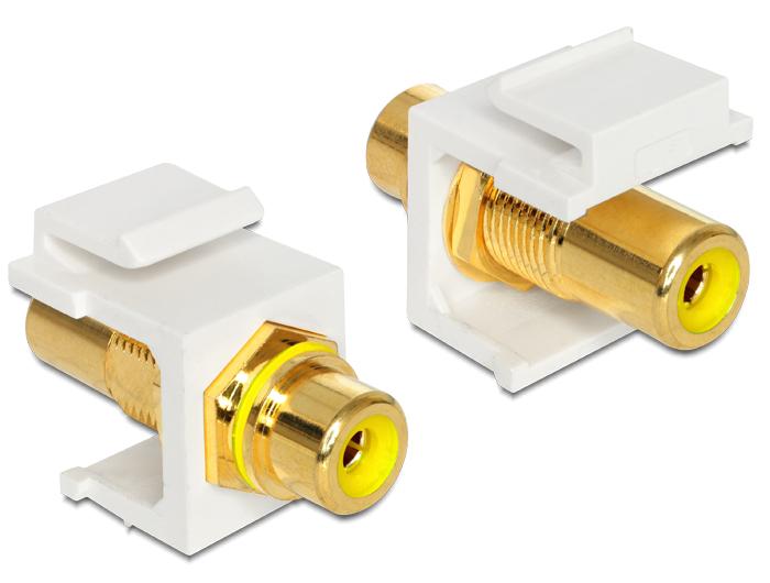 Delock Keystone modul RCA anya > RCA anya, aranyozott csatlakozó, sárga