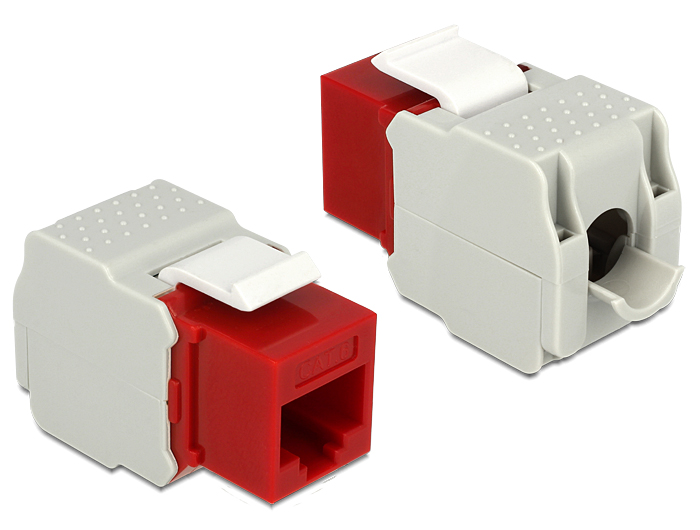 Delock Keystone Module RJ45 female > LSA Cat.6 UTP red