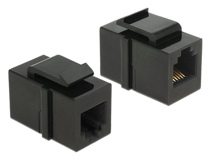 Delock Keystone module RJ12 female > RJ12 female Cat.3 black