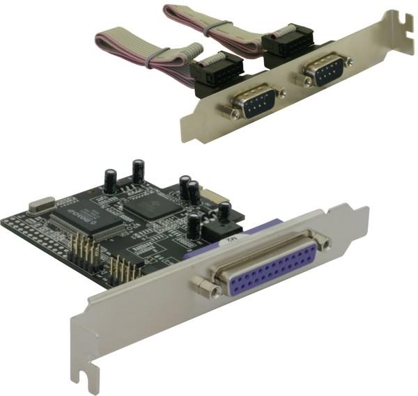 Delock PCI Express kártya 2 x soros, 1x párhuzamos