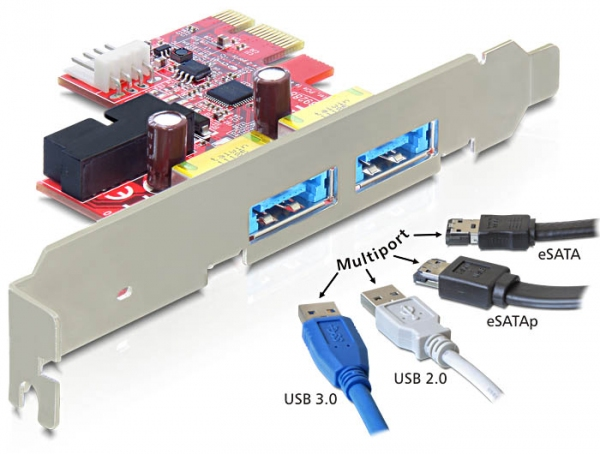 Delock PCI Express Card > 2 x Multiport USB 3.0 + eSATAp