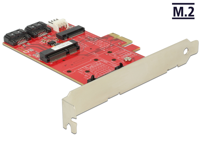 Delock PCI Express Card > 1 x internal M.2 NGFF, 1 x internal mSATA, 1 x internal MiniPCIe
